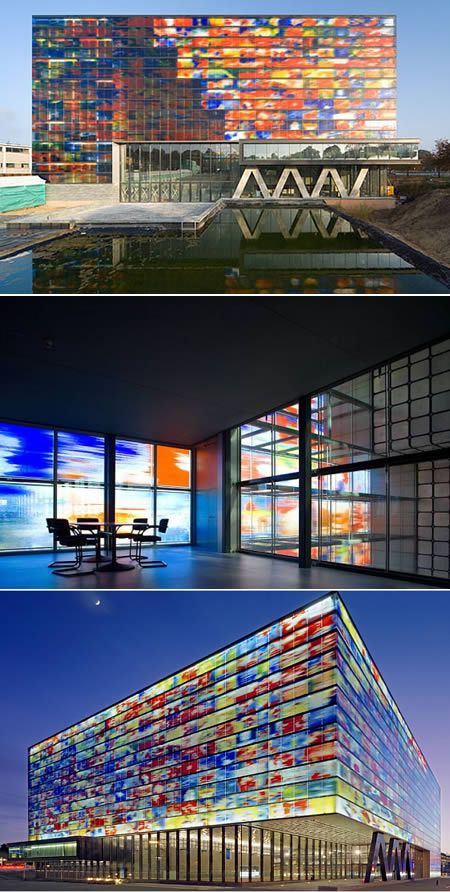Neutelings Riedijk Architects (NRA) represent the generation of Dutch Architects that are finally beginning to usurp the dominance of Rem Koolhaas.   The exterior is a modern stained glass, conceived in collaboration with artist Jaap Drupsteen. Each panel of the cast glass skin is imprinted with famous images from Dutch Television. I