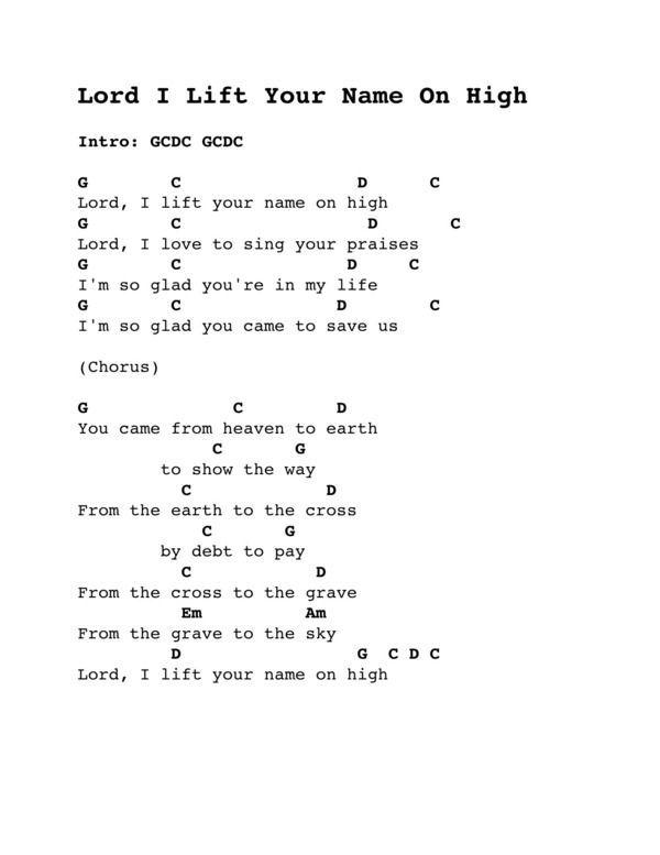 Lord I Lift Your Name On High Ukulele Worship Songs Guitar