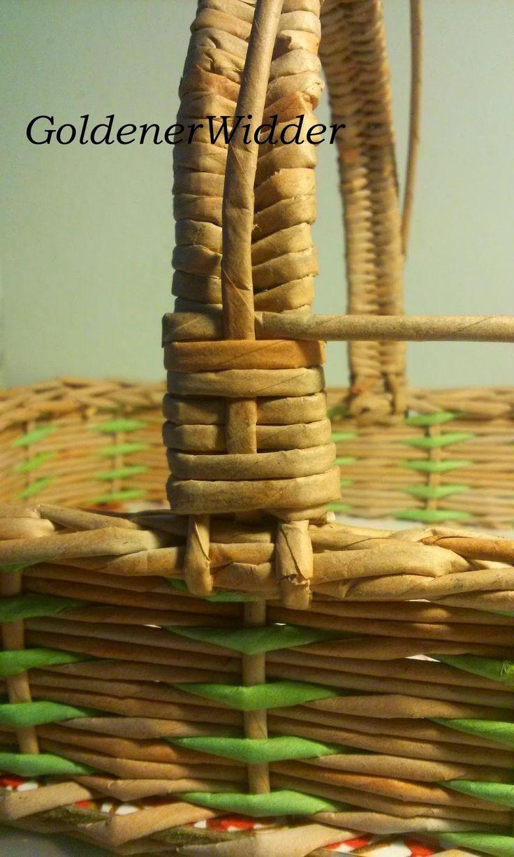 Плетение из газетных трубочек: Ручка с декоративными элементами. Ручка.