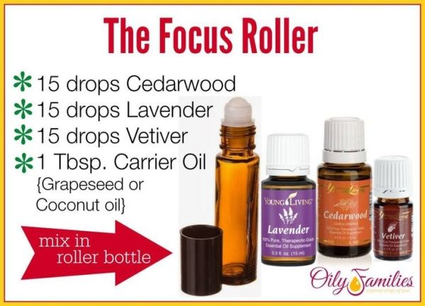 Focus Roller with Essential Oils {Help with Homework, Calming, and Focus} Young Living Essential Oils: Cedarwood, Lavender and Vetiver by alyssa
