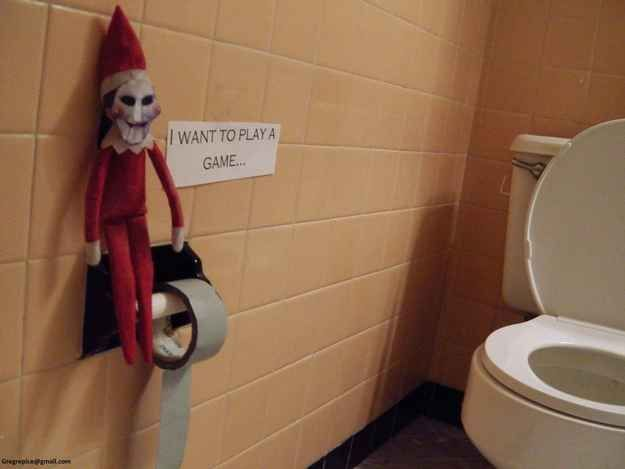 Real cute, Elf. | 22 Naughty Things The Elf On A Shelf Is Doing While You're Not Home