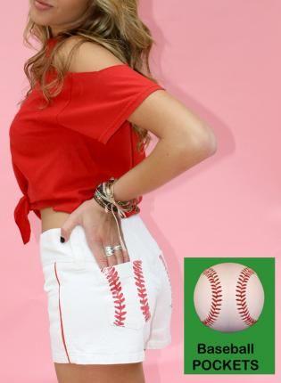 GlamSlam Short,  Bottoms, baseball  shorts  white  summer  sporty, Casual