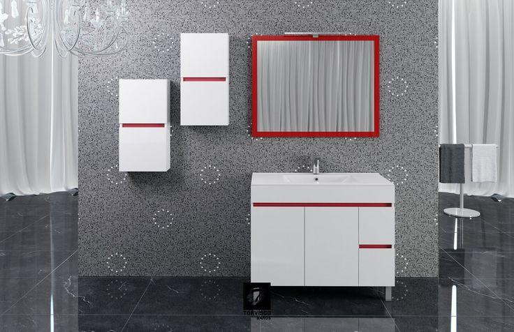 Mueble de baño SIL de 100 cms de ancho en blanco brillo y kit color en rojo, con encimera extrafina, espejo RÍOS en color rojo, foco ESTHER y colgares auxiliares de 35cms. Del catálogo BATHONE de TORVISCO GROUP, colección NATURA.