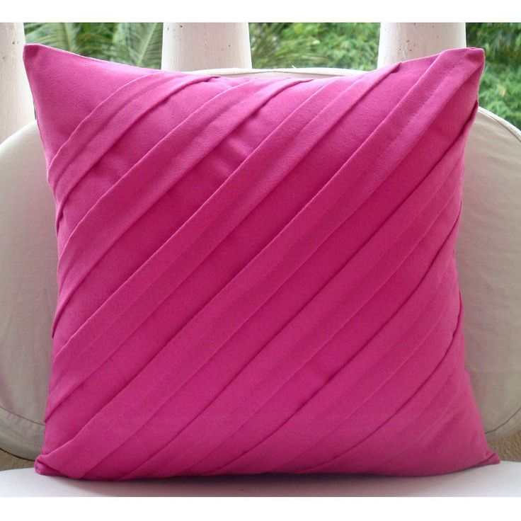 "Contemporary Fuchsia - Pink Faux Suede 18""X18"" Pillow Case"