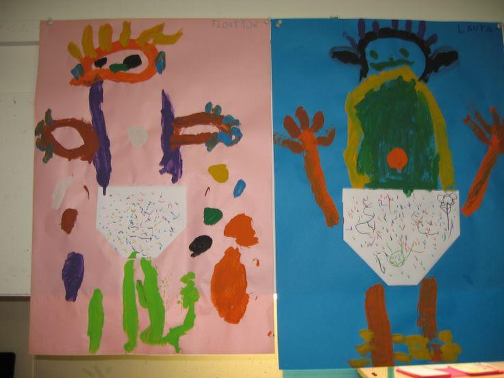 Baby met luier schilderen. Nutsschool Maastricht
