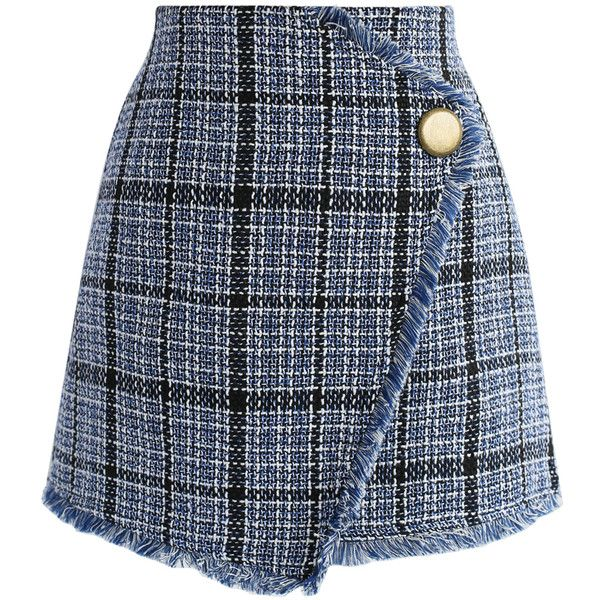 Chicwish Winsome Asymmetry Grid Tweed Flap Skirt in Navy (120 BRL) ❤ liked on Polyvore featuring skirts, mini skirts, bottoms, saias, faldas, brown, fringe skirt, fringe mini skirts, short mini skirts and brown tweed skirt