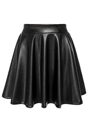 Zeagoo Synthetic Leather High Waist Midi Maxi Long Crossdresser Skirt