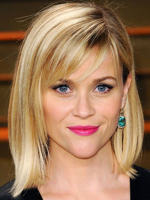 Reese Witherspoon choppy, side-swept bangs: http://beautyeditor.ca/2014/06/20/best-bangs-for-inverted-triangle-face-shape/