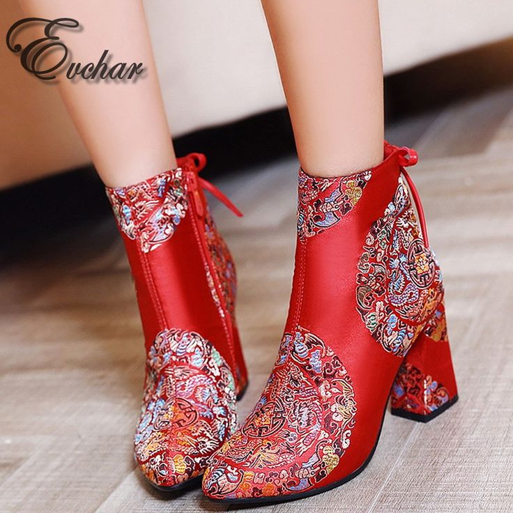 Chinese style  bride shoes  Fashion Boots Women Thick med Heels pointed toe Shoes Ankle Boots wedding shoes size 32-43