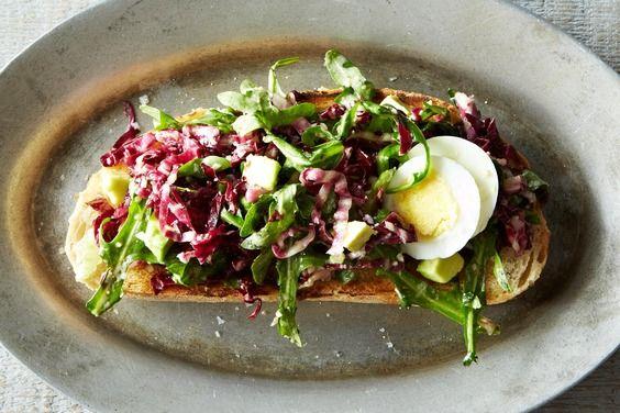 Bagna Cauda Toasts with Radicchio, Egg, and Avocado, a recipe on Food52