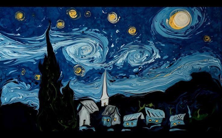 """Ebru sanatçısı Garip Ay, Van Gogh'un """"Yıldızlı Geceler"""" isimli eserini ebru sanatına uyarladı.   #garipay #ebru #art"""