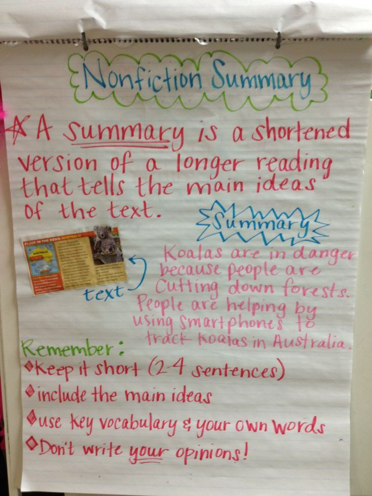 Image result for Summary Nonfiction Anchor Chart