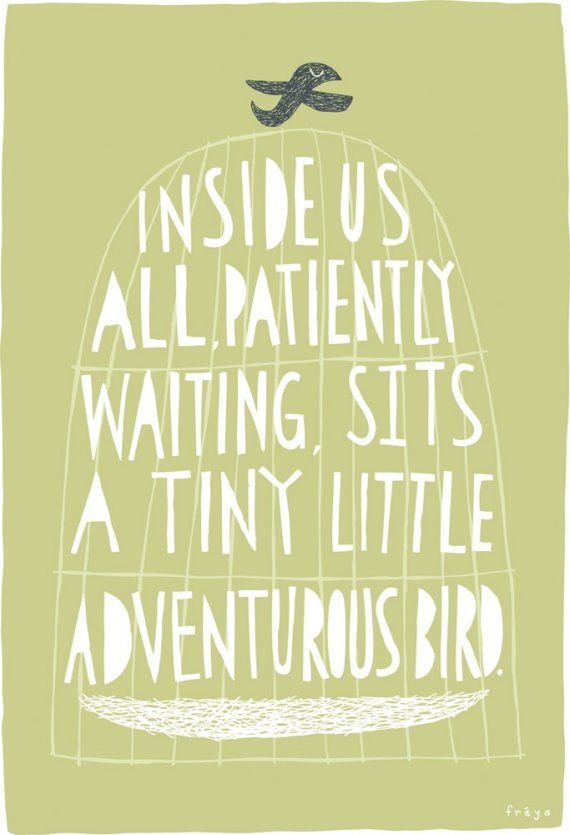 A tiny little adventurous bird. This is adorable! I want to paint something similar.