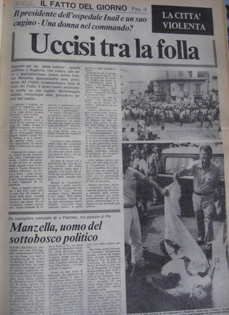 5 agosto 1982, omicidio Manzella Amato, Bagheria, pagina intera L'Ora