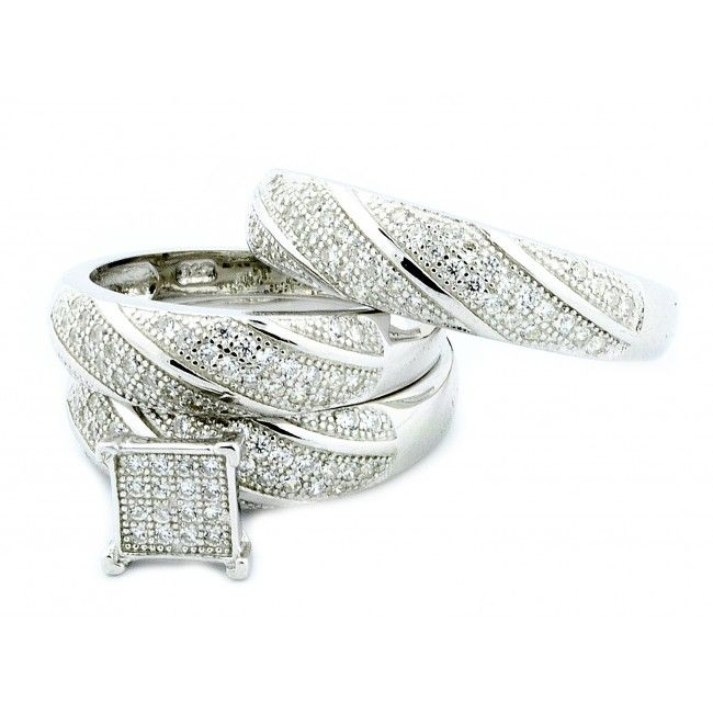 trio diamond engagement wedding bridal ring sets his and hers white gold - Trio Wedding Ring Sets