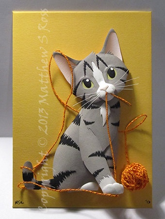 CUSTOM Kitten with a ball of yarn CAT Paper by PaperMatthew, $200.00
