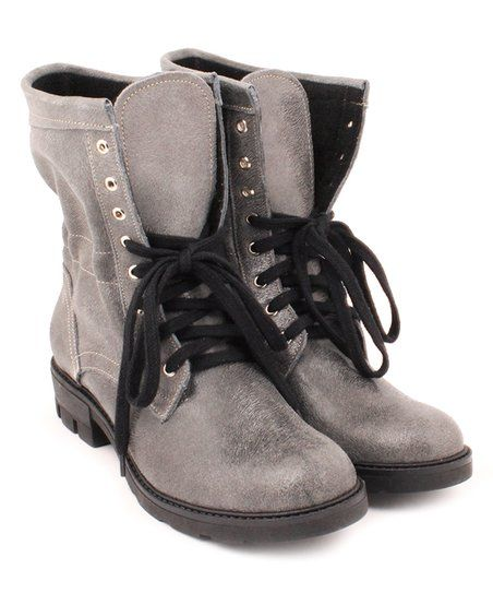 3bc6e5b0a34ef ZAPATO Gray Slouchy Lace-Up Leather Combat Boot - Women