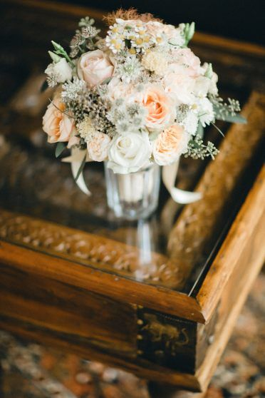 Wedding bouquet on a retro table.