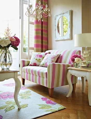 Candy stripes and fresh spring florals make a great combination - These pastel shades of green and pink are combined with cream walls and furniture for a fresh spring look.