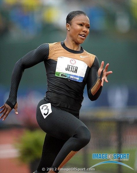 Carmelita Jeter wins womens 200m heat in 22.62 during the 2012 U.S. Olympic Team Trials at Hayward Field.