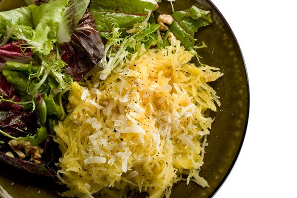Roasted Spaghetti Squash with Parmigiano-Reggiano    I enjoyed, but couldn't convince kids it was pasta.