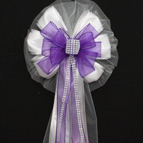 Chaise arcs des Bling violet mariage Pew arcs  décorations de