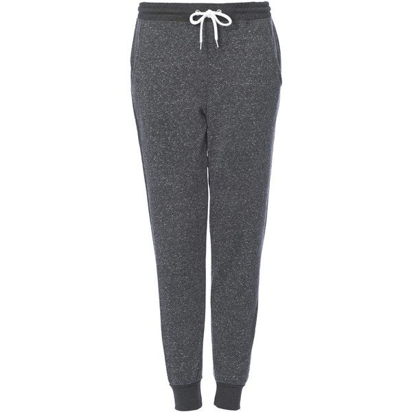 TopShop Neppy Joggers ($31) ❤ liked on Polyvore featuring activewear, activewear pants, pants, bottoms, sweatpants, joggers, calças, charcoal, cuff sweatpants and jogger sweatpants