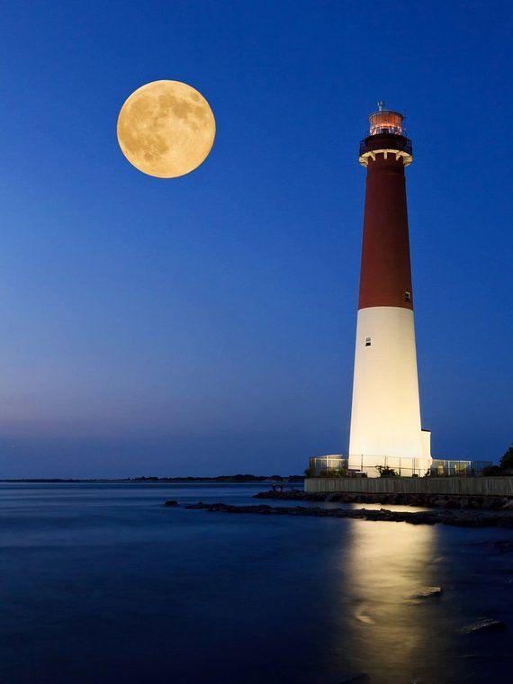 Barnegat Lighthouse Photo Print NJ Shore Moon Ocean Beach Photography Navy Blue Yellow Large Wall Ar – Ralf Buchholz