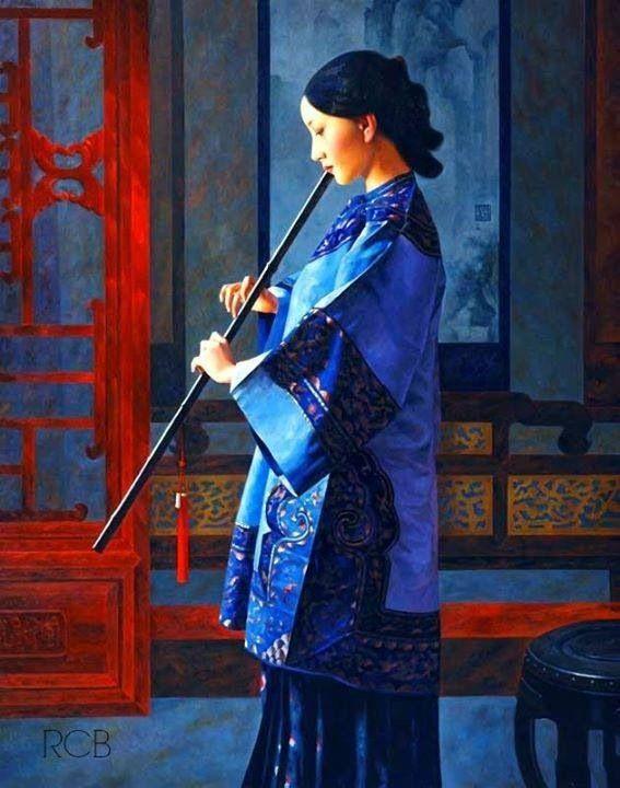 Hardcore Ebony asian playing flute read somewhere