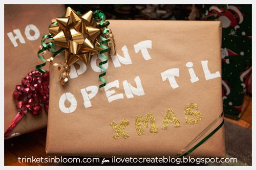 wordy christmas gift wrap printed with acrylic and glitter saying don't open til christmas