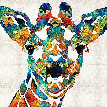 Sharon Cummings - Colorful Giraffe Art - Curious - By Sharon Cummings