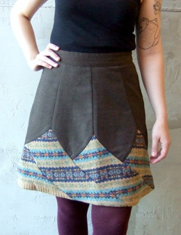 wool trousers and sweaters as a skirt: perfection.