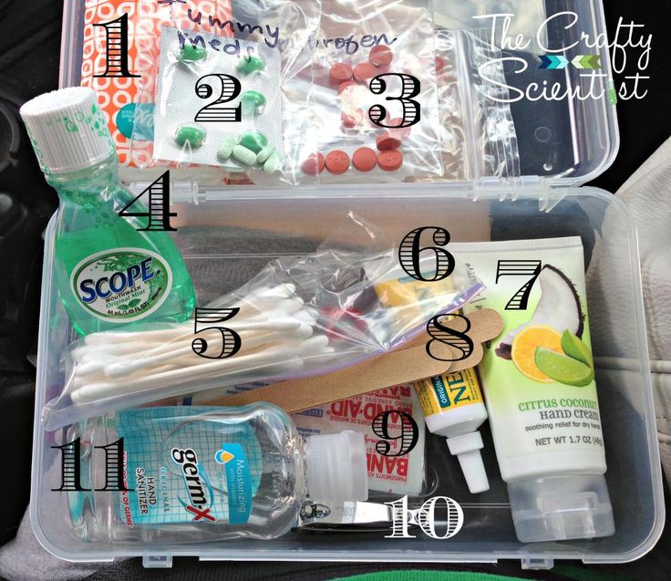 Car Essentials Box: 1. Kleenex® Tissues 2. Tummy medicines 3. pain medicines 4. mouthwash  5. cotton swabs 6. First Aid ointment for cuts 7. hand lotion 8. nail files 9. Bandages 10. nail clippers 11. antibacterial gel