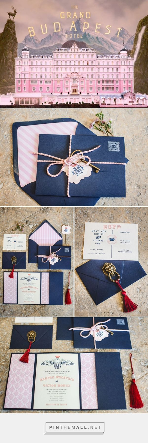 Invitations styled after the iconic look of Wes Anderson's 'The Grand Budapest Hotel'. Amazing.