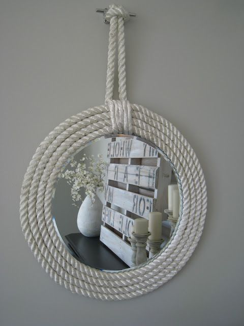 Easy tutorial on how to make your own nautical rope mirror using cheap mirror chargers, rope and dock cleats.