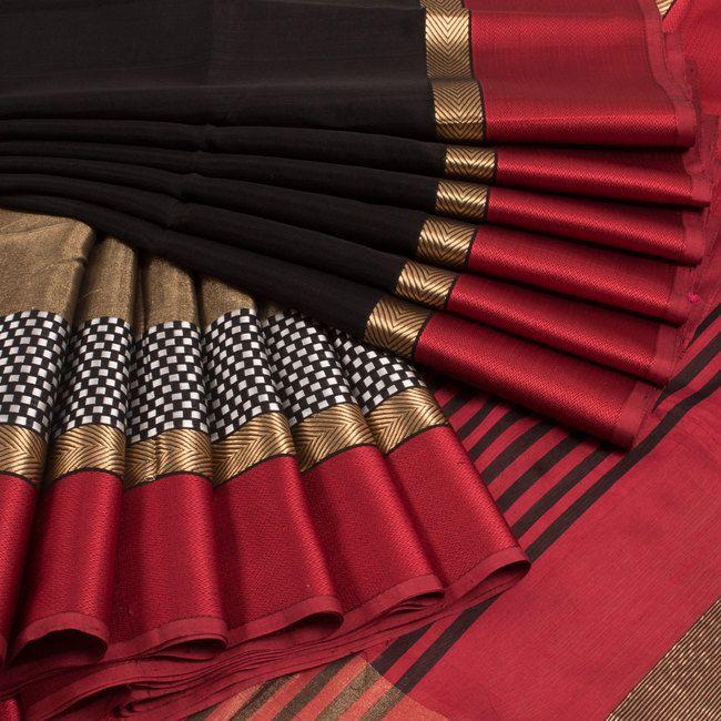 Ghanshyam Sarode Black Handwoven Silk Cotton Saree With Striped Pallu 10009582 - profile - AVISHYA.COM