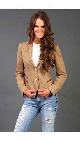 Holland Cooper luxury ladies sporting jacket in brown herringbone tweed