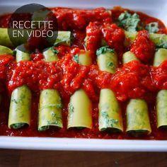 Cannellonis épinards fromage frais et tomates