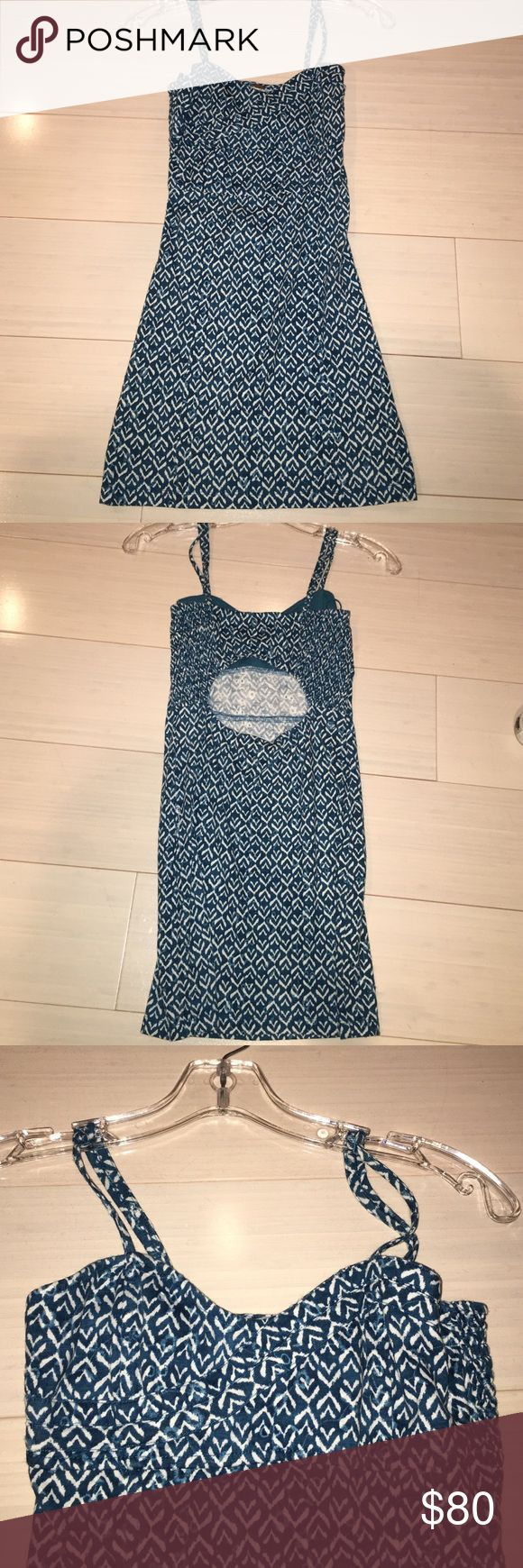 """Turquoise and white patterned bodycon dress Free people turquoise and white bodycon dress. """"O shaped"""" cutout in the back. Elastic on the sides. Tank top straps and very short Free People Dresses Mini"""
