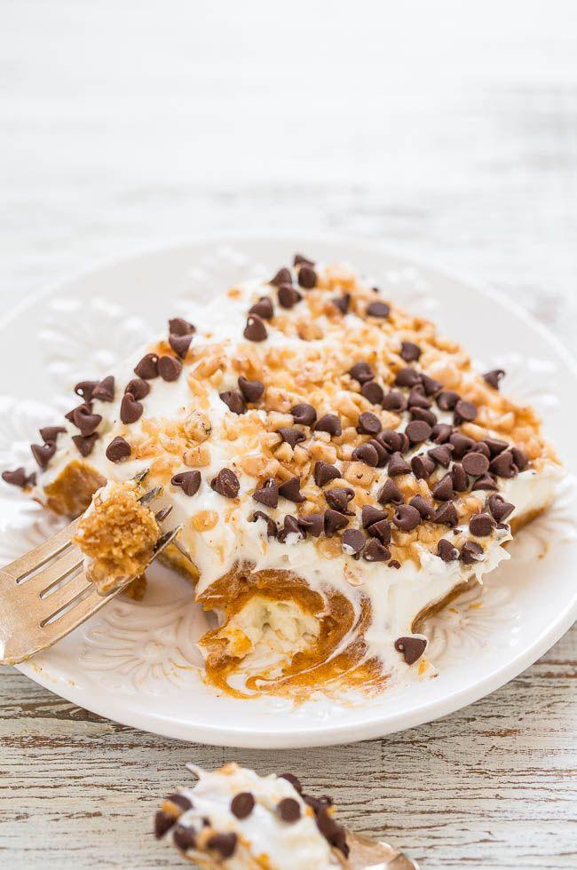 Calabaza Lozano - Postre fácil en capas con trozos de galleta corteza, queso crema, pudín, calabaza, crema batida, virutas de chocolate y caramelo !!  Un poco de CRUNCH con mucha cremosidad esponjoso !!