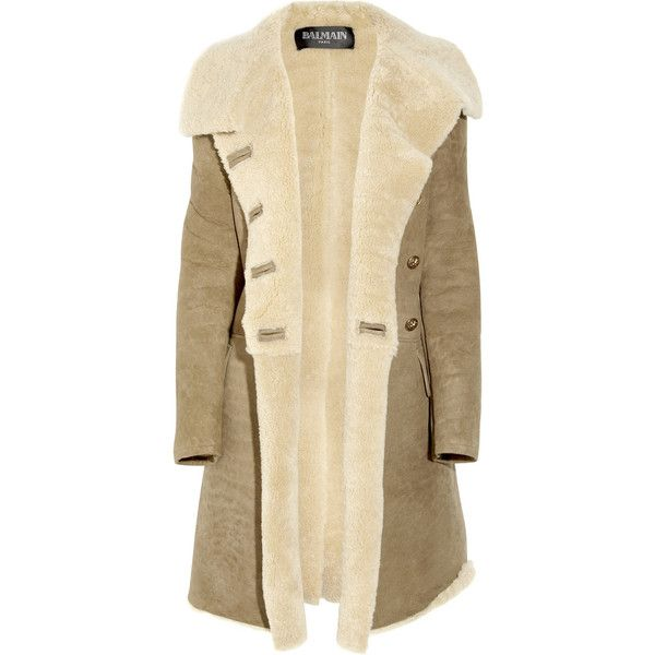 Balmain Double-breasted shearling coat ($2,915) ❤ liked on Polyvore featuring outerwear, coats, jackets, balmain, coats & jackets, balmain coat, long sleeve coat, double-breasted coat and oversized coat