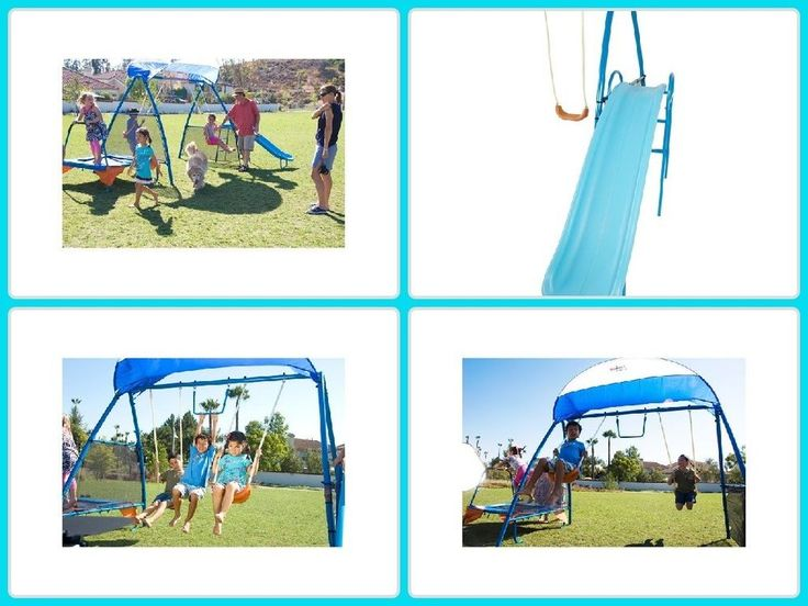Kids Swing Set Fitness Playground Metal W/ Trampoline Monkey Bar Outdoor Play
