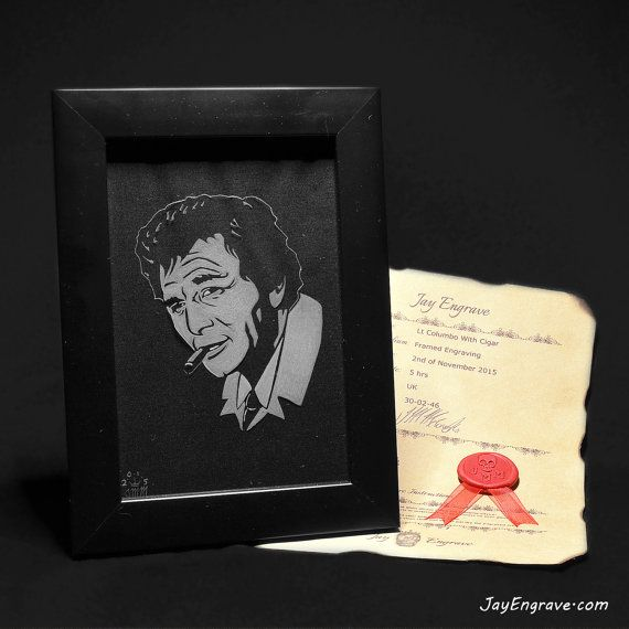Lieutenant Lt Columbo Peter Falk With Cigar Framed Hand Glass Engraving by…