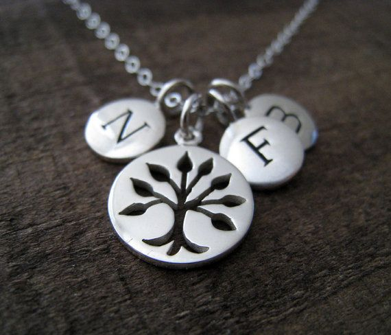 Personalized family Necklace silver tree of life by thejewelrybar, $62.00