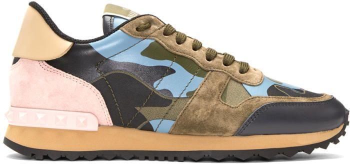 51b72aa6e8c7 Valentino Green and Blue Valentino Garavani Camo Rockrunner Sneakers ...