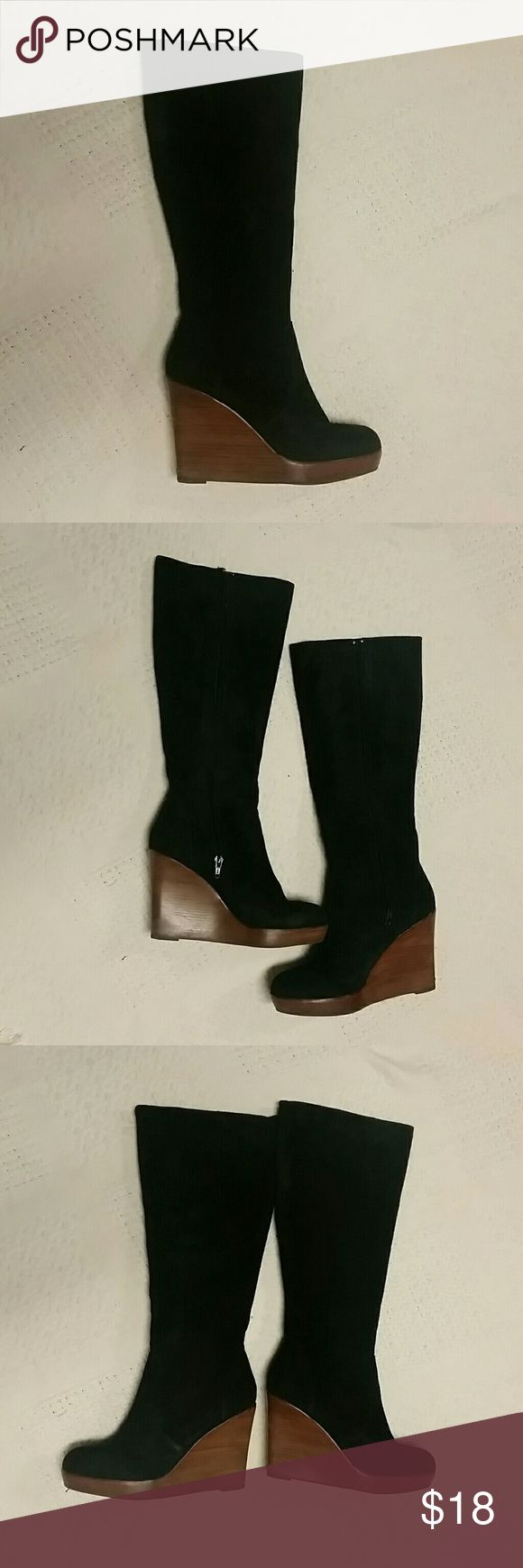 Steve Madden black suede tall wedge boots Steve Madden black boots, inside zipper, 4 in wedge heel, total boot height is just under 18 1/2 inches, see pics for wear on heels Steve Madden Shoes Heeled Boots