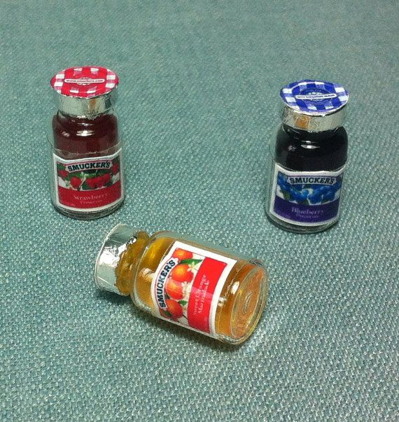 3 Miniature Fruits Jam Fruit Marmalade Orange Blueberry Strawberry Jars Bottles Glass Bottle Cute Little Tiny Small Dollhouse Supplies Food