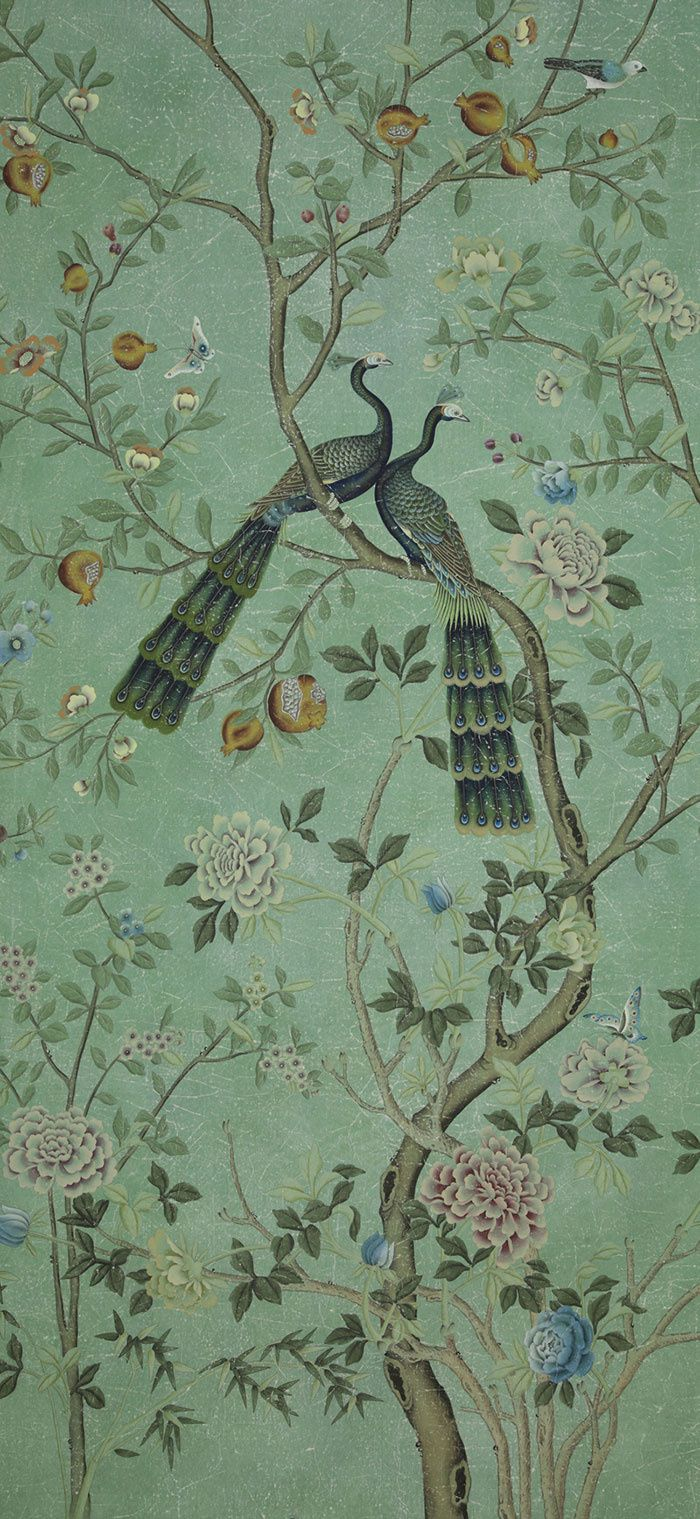 Panneau de papier peint Saint Laurent, collection chinoiseries (de Gournay)