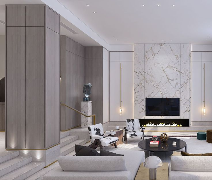 Marble Feature Wall In Living Room With Low Wide Fireplace