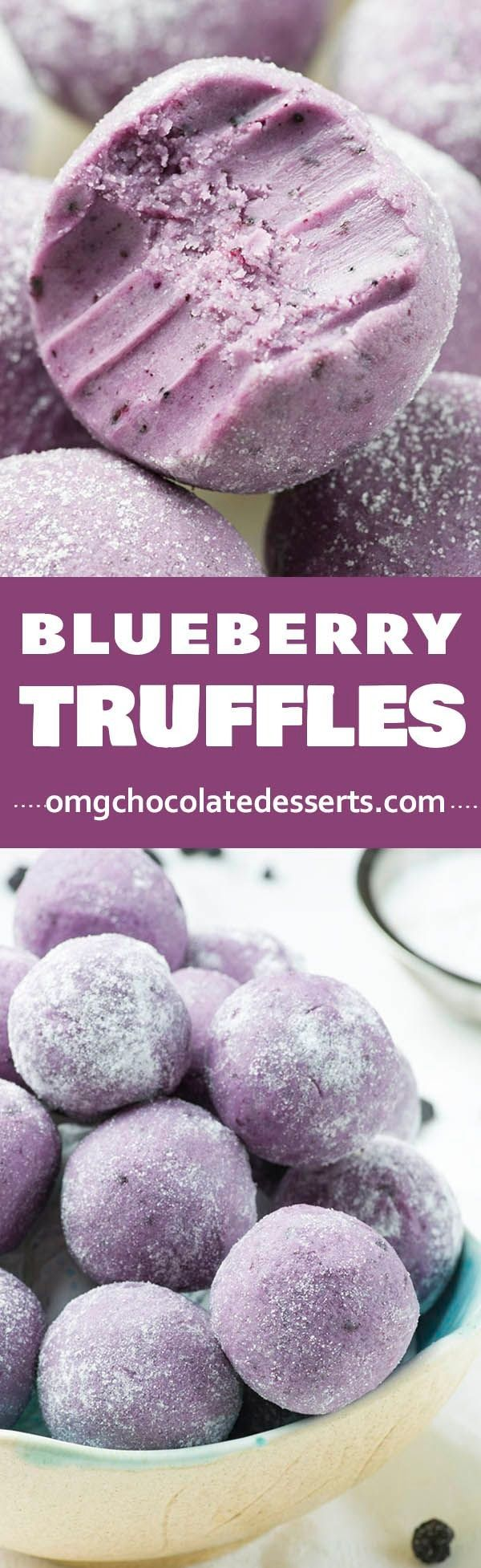 These beautiful Blueberry Truffles from @omgchocodesserts call for some white chocolate. How delicious would these be with Lindt CLASSIC RECIPE white chocolate? Yum!